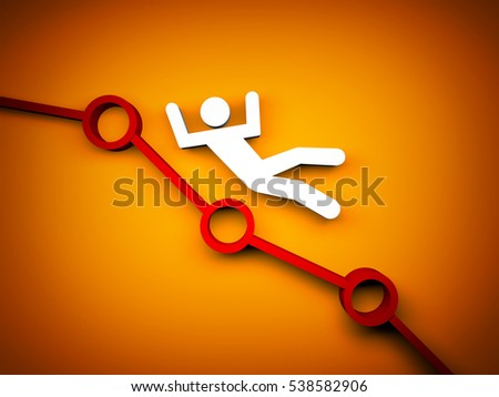 White person falls on chart. 3d illustration