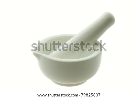 White pestle and mortar isolated on white background