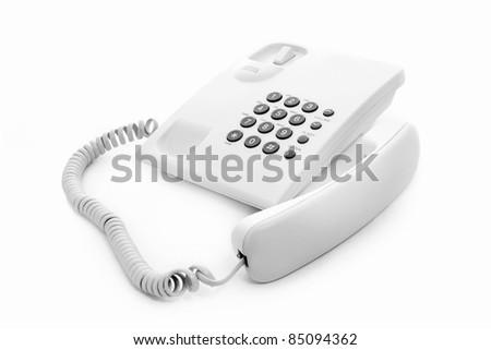 white phone on white background - stock photo
