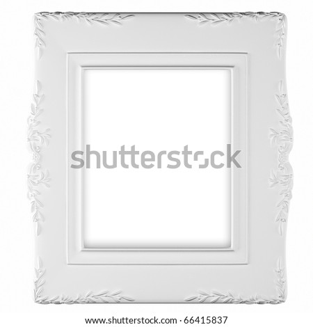 White photo frame. - stock photo