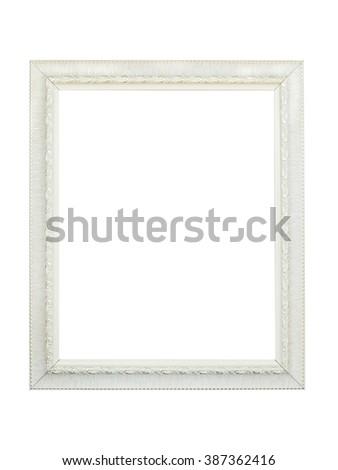 White photo frame isolated on white background - stock photo