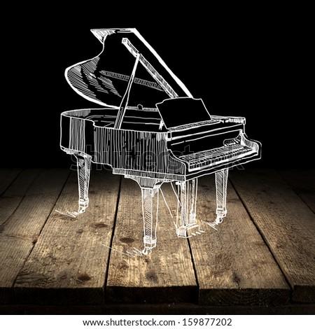 white piano  - stock photo