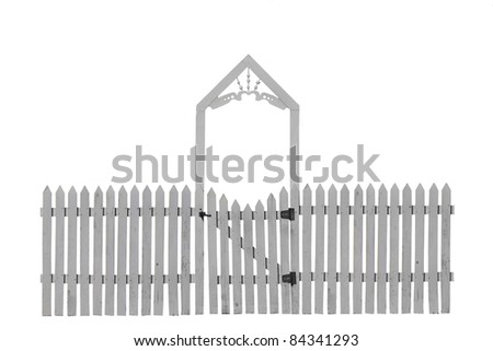 White Picket Fence with Decorative Gate - stock photo