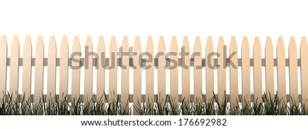 White Picket Fence with White Background