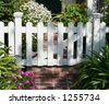White picket gate - stock photo