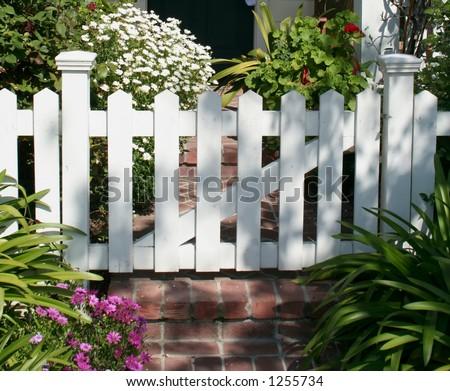 White picket gate - stock photo