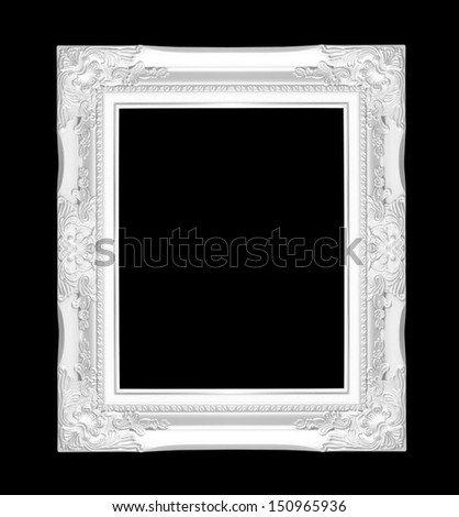 white picture frame isolated on black background - stock photo