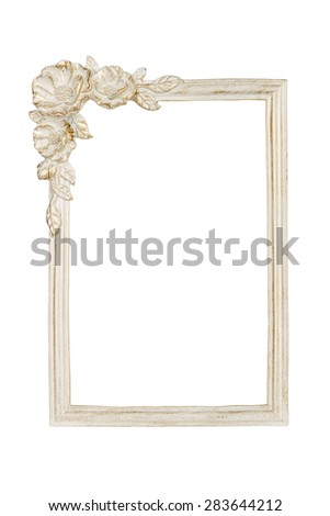 White picture frame with rose decor clipping path included. - stock photo