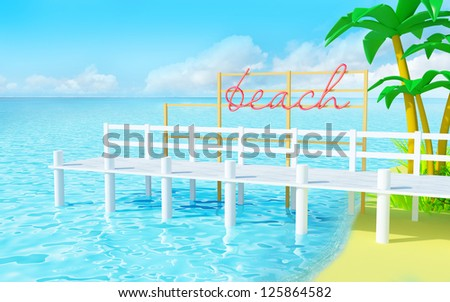 White pier on a summer tropical beach. Neon sign on a pier in a retro style. 3d image in cartoon style - stock photo
