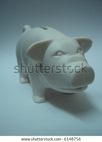 white Piggy bank isolated - stock photo