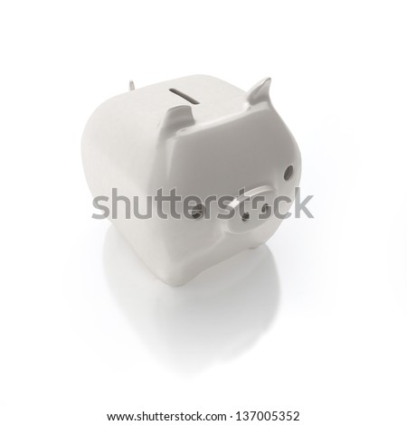 white piggy bank isolated on white
