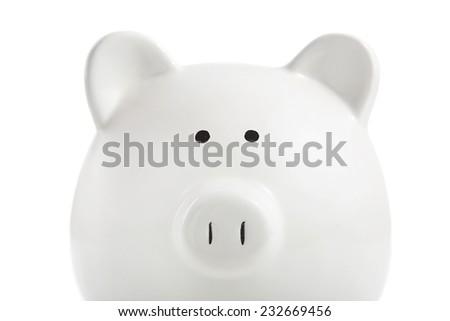 White piggy bank on a white background - stock photo