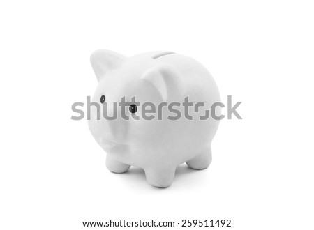 White piggy bank with clipping path - stock photo