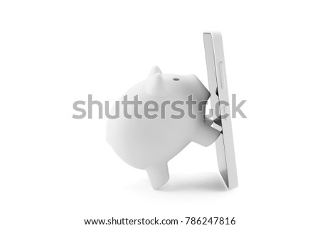 White piggy bank with mobile phone