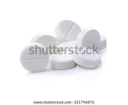 White pill on a white background - stock photo