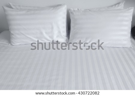 white Pillow, Bedding sheets and pillows up white bedding striped textile in bedroom