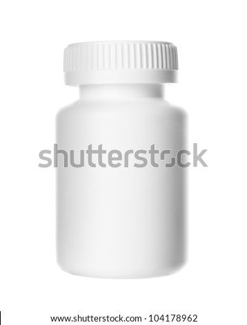White pills container on white background - stock photo
