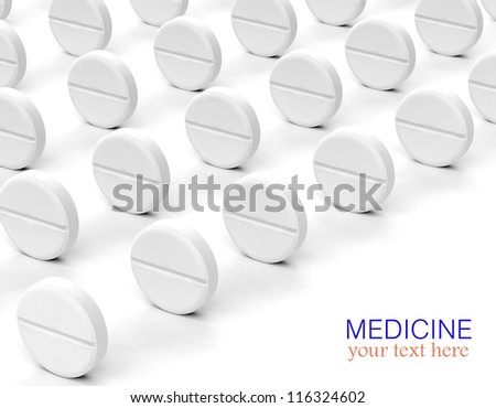 White pills in a row - stock photo