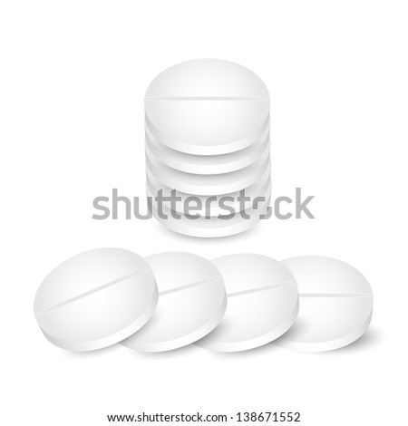 white pills on a white background.raster copy of vector file - stock photo