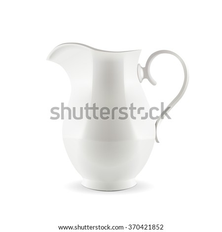 White pitcher isolated on white background