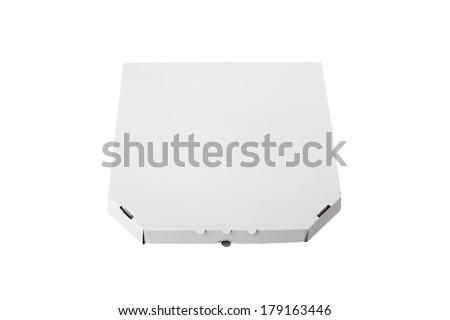 White pizza box template on white background - stock photo