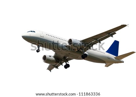 white plane with the gear and two jet engines, isolated on white background - stock photo