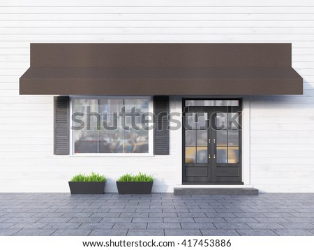White plank cafe exterior with brown canopy. 3D Rendering - stock photo
