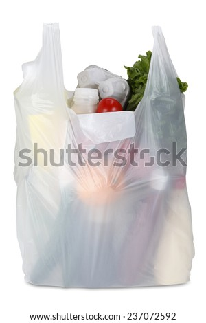 White plastic bag on white background. Clipping path included. - stock photo