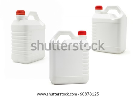 White plastic blank containers on isolated background - stock photo