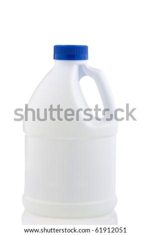 White plastic bottle blue cap isolated on white - stock photo