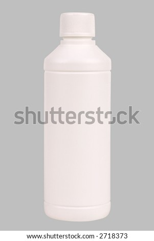 White plastic bottle. Isolated on grey. Clipping path included. - stock photo
