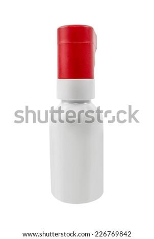 White plastic bottle of medicine isolated on white - stock photo