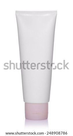 White plastic bottle of shampoo, conditioner, hair rinse, gel, on a white background with reflection.