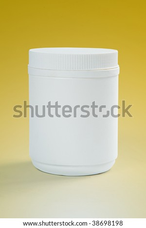 white plastic bottle on yellow background