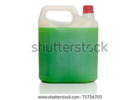 White plastic bottle red cap containing green liquid on white background. - stock photo