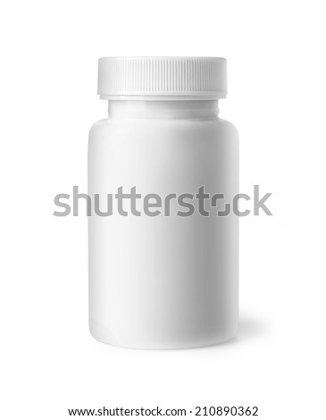 White plastic bottle with clipping path