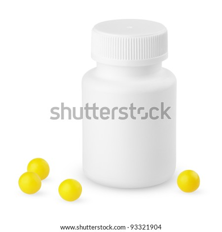 White plastic bottle with yellow vitamins isolated on white - stock photo