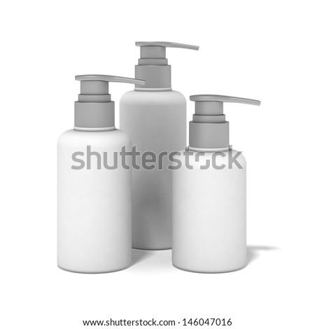White plastic bottles used for cosmetics.  - stock photo