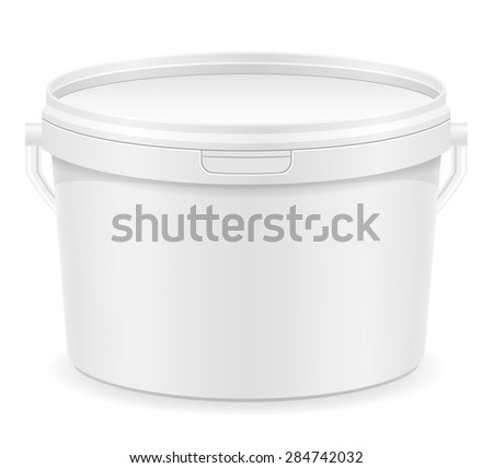 white plastic bucket for paint illustration isolated on background