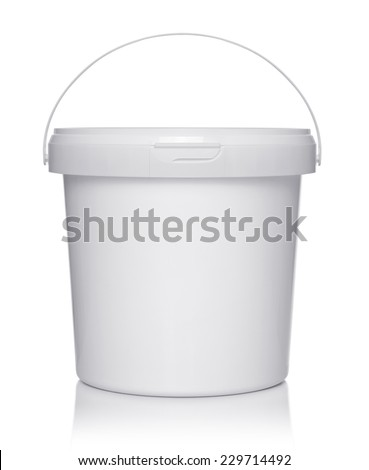 White plastic bucket with lid on a white background. - stock photo