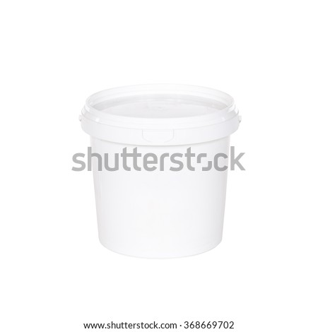 White plastic bucket with lid on  white background - stock photo