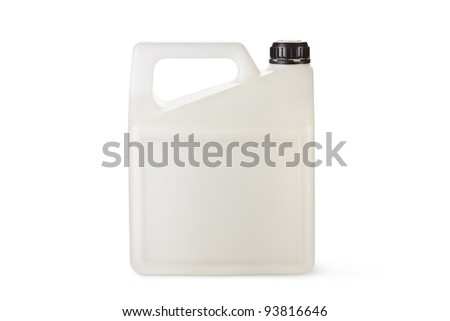 White plastic canister for household chemicals. Isolated on a white. - stock photo