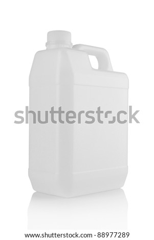 white plastic canister is isolated on a white background - stock photo