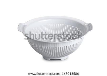 White plastic colander isolated on white background - stock photo