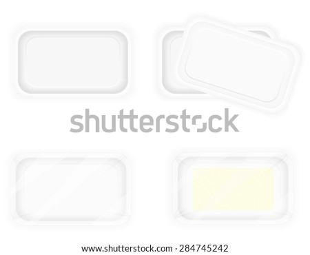 white plastic container packaging for food illustration isolated on background