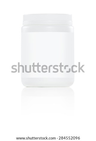 white plastic container with white label on white background - stock photo