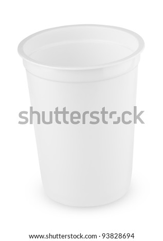 White plastic cup isolated on white background - stock photo