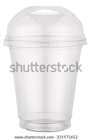 White plastic cup with cap. File contains clipping paths. - stock photo