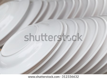 white plastic dish in close up - stock photo