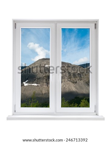 White plastic double door window with landscape through glass. Isolated on white background. - stock photo